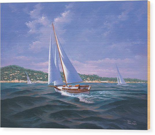 Sailing On Monterey Bay Wood Print