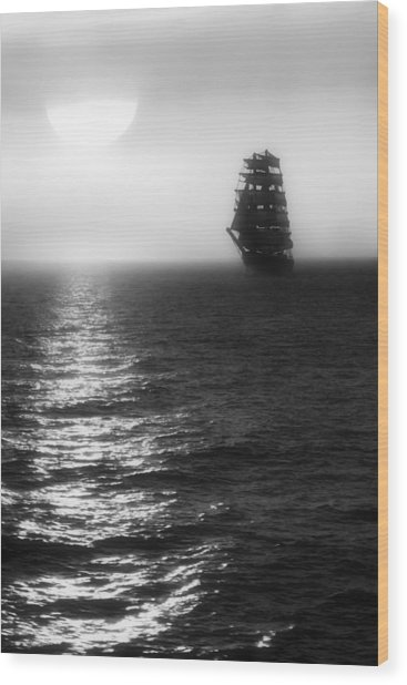 Sailing Out Of The Fog - Black And White Wood Print
