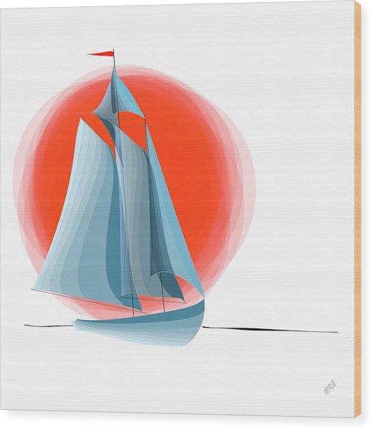 Sailing Red Sun Wood Print