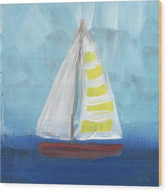 Sailing- Sailboat Painting Wood Print