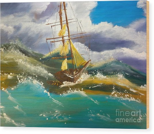 Sailing Ship In A Storm Wood Print