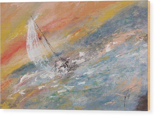 Sailing The Horizon  Wood Print