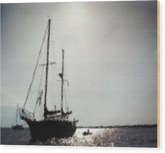 Out Sailing The Seas Wood Print