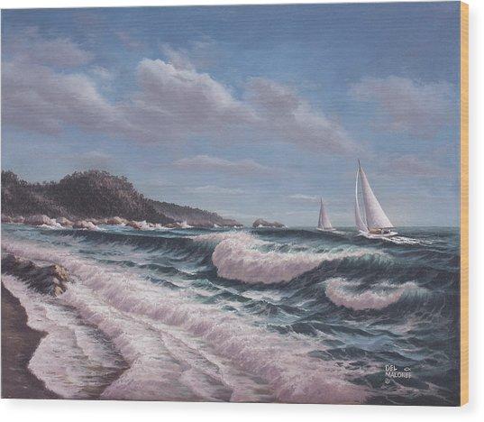 Sailing Toward Point Lobos Wood Print