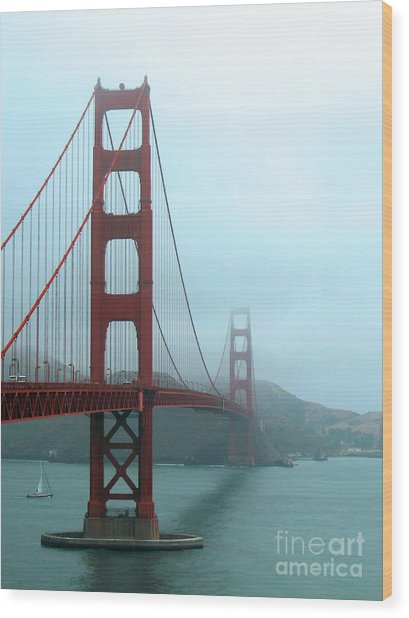 Sailing Under The Golden Gate Bridge Wood Print