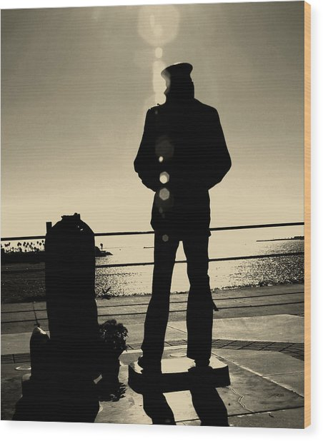 Sailor Statue Over Long Beach Harbor Wood Print