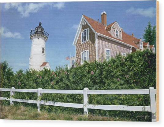 Sailors Gift - Nobska Lighthouse Wood Print by Julia O'Malley-Keyes