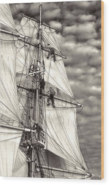 Sailors In Rigging Of Tall Ship Wood Print