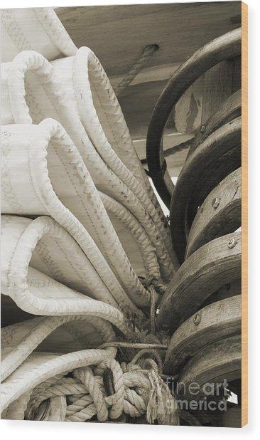 Sails And Mast 2 Wood Print