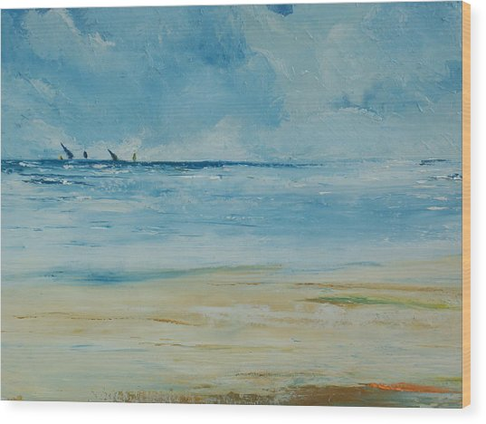 Sails Beyond The Reef Wood Print