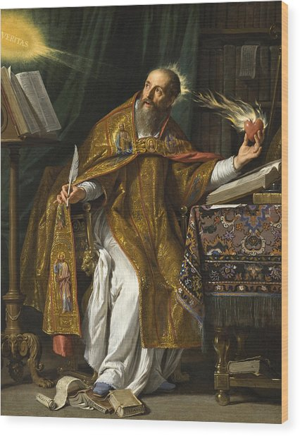 Wood Print featuring the painting Saint Augustine by Philippe de Champaigne