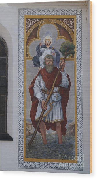 Saint Christopher Mural - Kranj - Slovenia Wood Print by Phil Banks