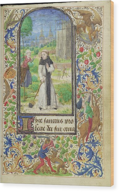 Saint Fiacre And The Shrew Houpdée Becnaude Or Baquenaude Wood Print by Litz Collection
