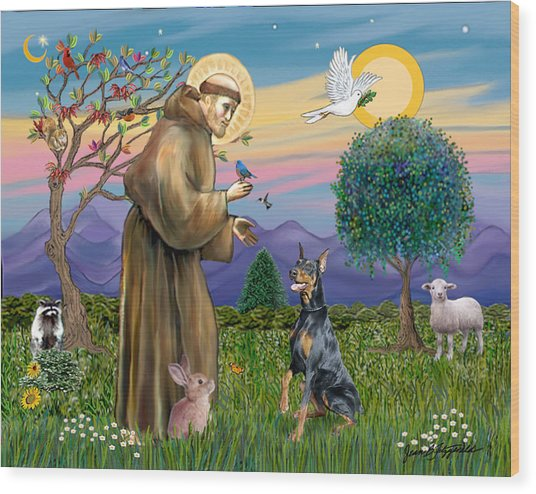 Saint Francis And Doberman Pinscher Wood Print
