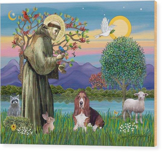 Saint Francis Blesses A Basset Hound Wood Print