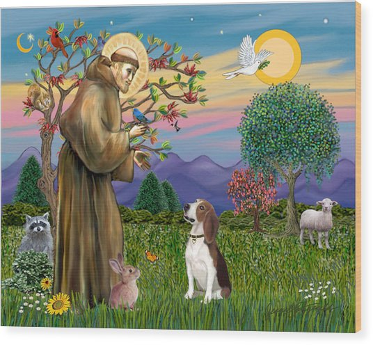 Saint Francis Blesses A Beagle Wood Print