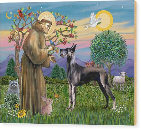 Saint Francis Blesses A Black Great Dane Wood Print