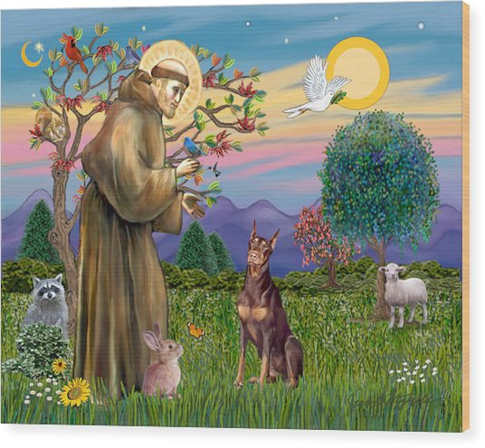 Saint Francis Blesses A Red Doberman Wood Print