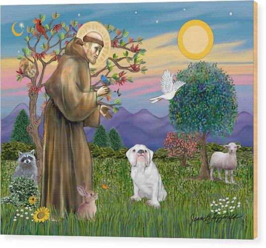 Saint Francis Blesses An English Bulldog Wood Print