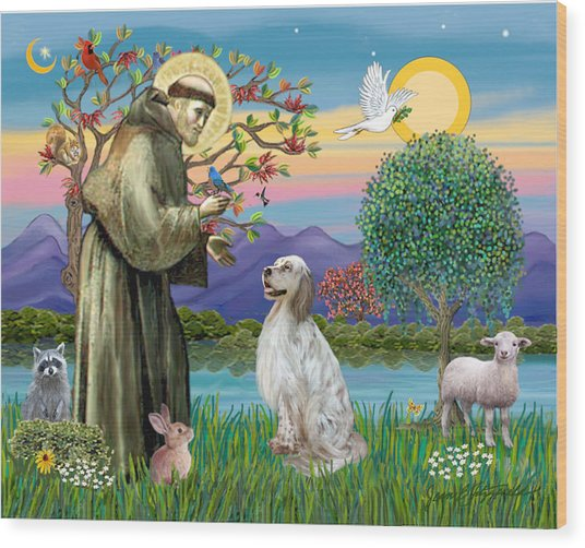 Saint Francis Blesses An English Setter Wood Print