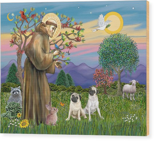 Saint Francis Blesses Two Fawn Pugs Wood Print