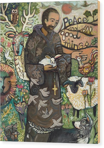 Saint Francis Wood Print