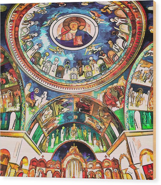 Saint George Above Wood Print