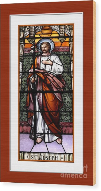 Saint Joseph  Stained Glass Window Wood Print