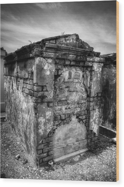 Saint Louis Cemetery No. 1 Brick Grave In Black And White Wood Print