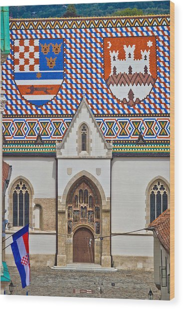 Saint Mark Church Facade Vertical View Wood Print