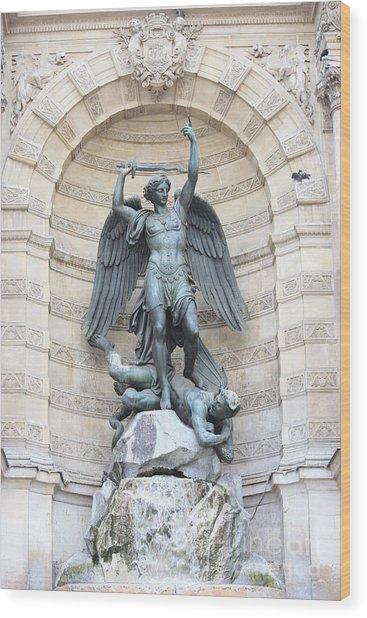 Saint Michael The Archangel In Paris Wood Print
