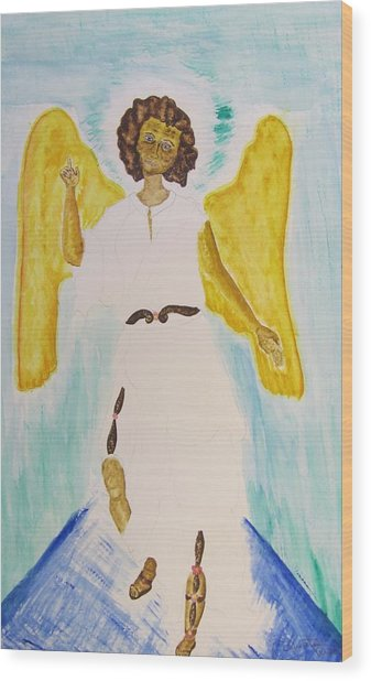 Saint Michael The Archangel Miracle Painting Wood Print by Debbie Nester