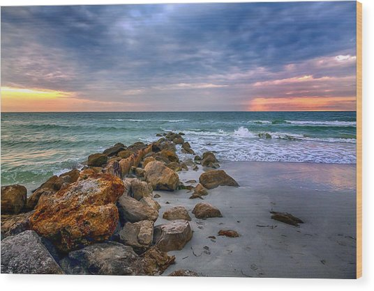 Saint Pete Beach Stormy Sunset Wood Print