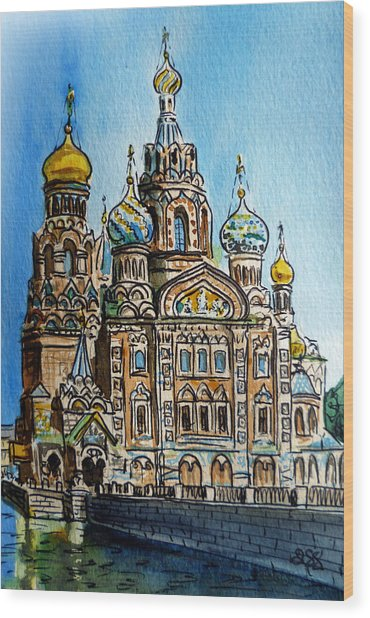 Saint Petersburg Russia The Church Of Our Savior On The Spilled Blood Wood Print