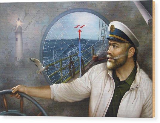 Saint Simons Island Map Captain 3 Wood Print