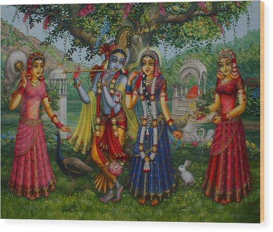 Sakhi Yugal Wood Print