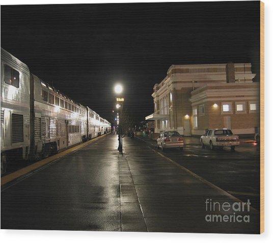 Salem Amtrak Depot At Night Wood Print