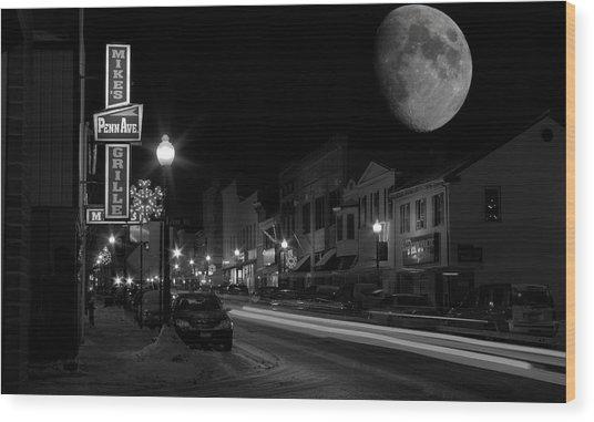 Salem Ohio Winter Moon Wood Print