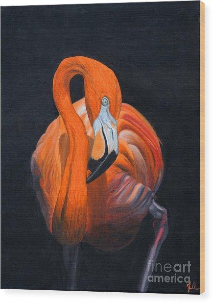 Sally The Flamingo Wood Print
