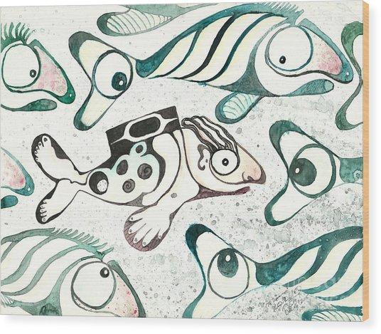 Salmon Boy The Swimmer Wood Print