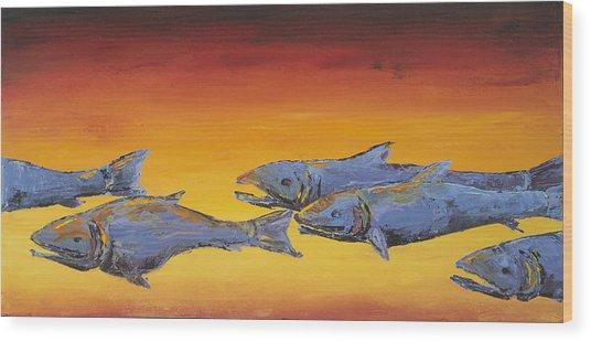 Salmon Sunrise Wood Print