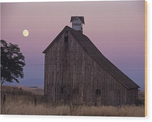 Salt Barn Mooned Wood Print
