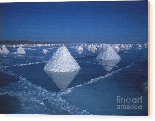 Salt Cones At Nightfall Wood Print