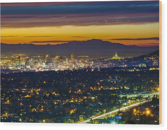 Salt Lake City At Dusk Wood Print