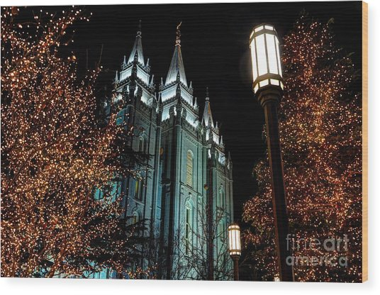 Salt Lake City Mormon Temple Christmas Lights Wood Print