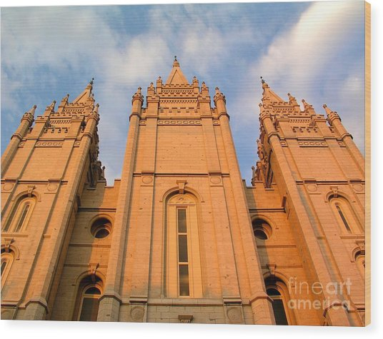 Salt Lake Temple Sunset Closeup Wood Print by Jenny Wood