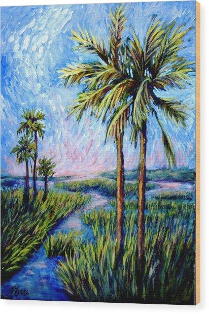 Salt Marsh Palms Wood Print by Sebastian Pierre