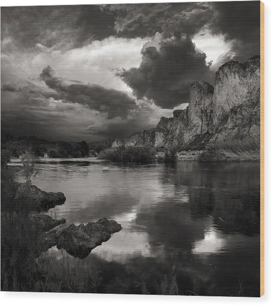 Salt River Stormy Black And White Wood Print