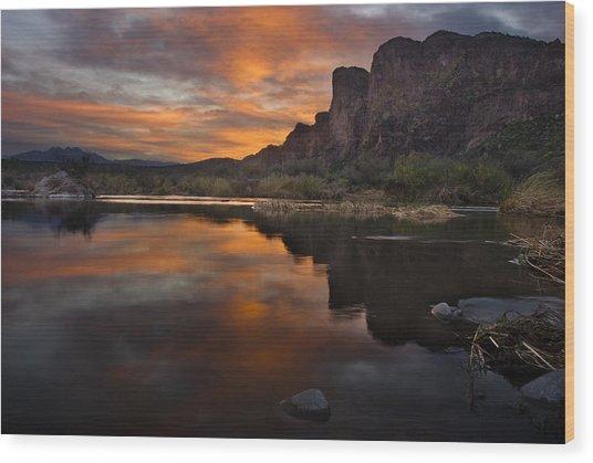 Salt River Sunset Wood Print