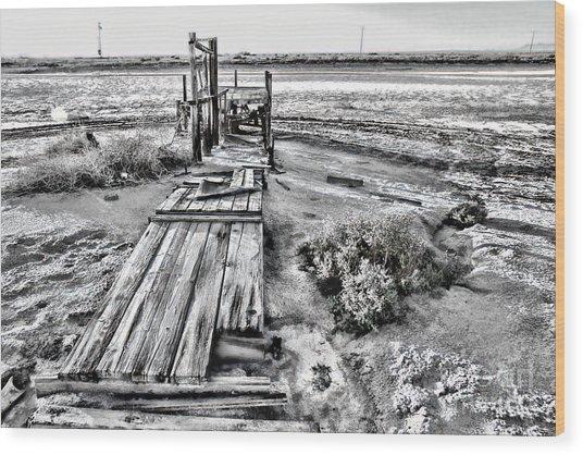 Salton Sea Dock Under Renovation By Diana Sainz Wood Print